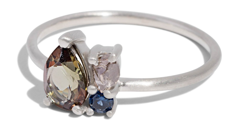 Custom Charta Cluster 7x5mm Andalusite, Rough Diamond andBlue Sapphire Ring