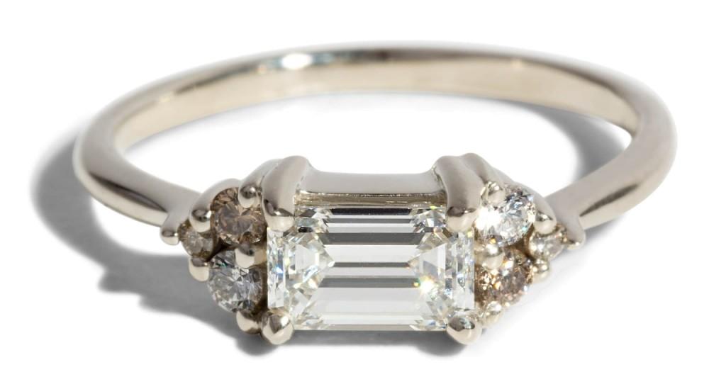Custom Avens Symmetrical .68ct Emerald Cut Diamond Ring