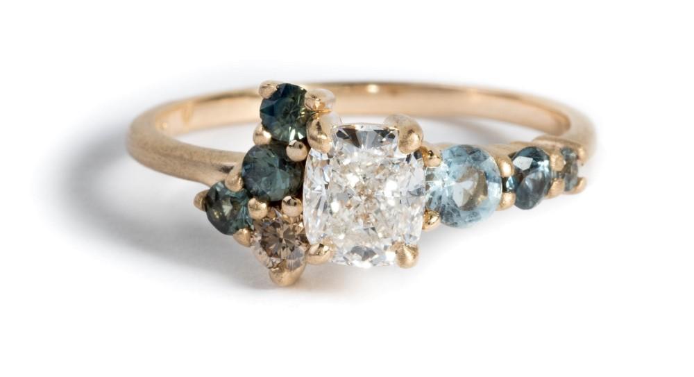 Custom Radial Cluster .75ct Cushion Cut Diamond, Sapphire and Aqua Ring