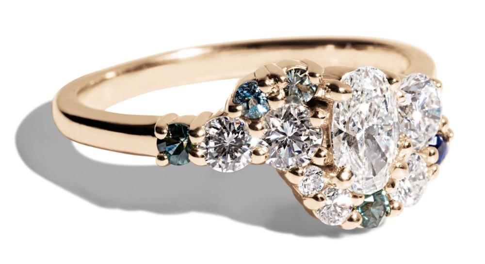 Custom .31ct Oval Diamond Cluster Ring with Blue, Green, Aqua Sapphires and Diamonds