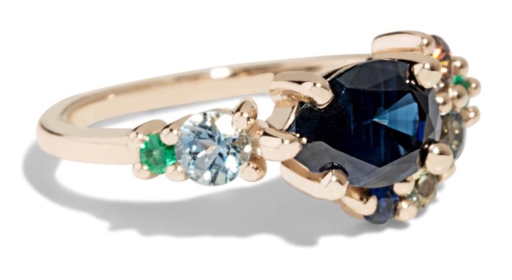 Custom Cluster 7x5mm Pear Cut Blue Sapphire Ring