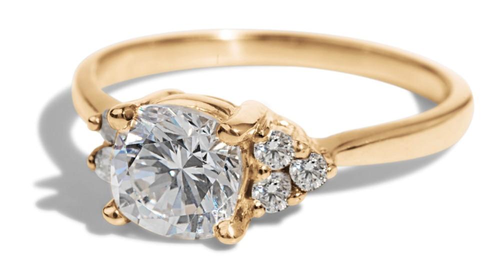 Avens Asymmetrical Diamond Cushion Ring