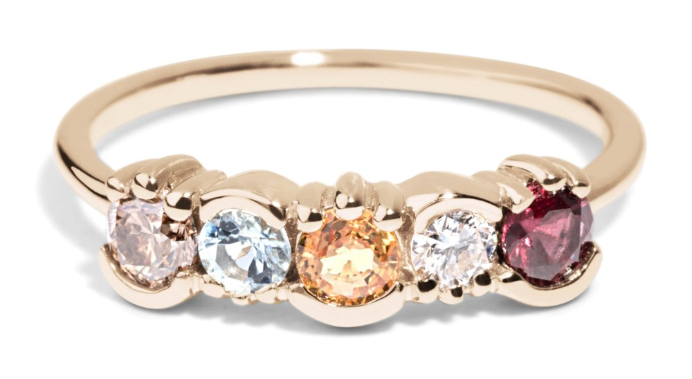 Custom Diamond, Garnet, and Sapphire Lash Linear Ring