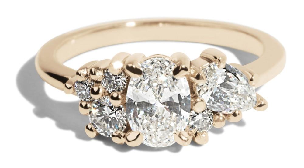 Custom .50ct Oval Diamond Cluster Six Stone Ring