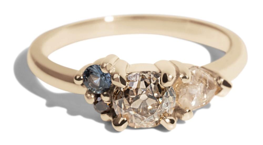 Custom .64ct Old Mine Cut Champagne Diamond Asymmetrical Avens Ring with Sea foam Sapphires and Cognac Diamond