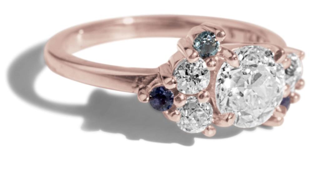Custom .75ct Diamond Asymetrical Avens Ring with Diamonds, Sapphire and Iolite