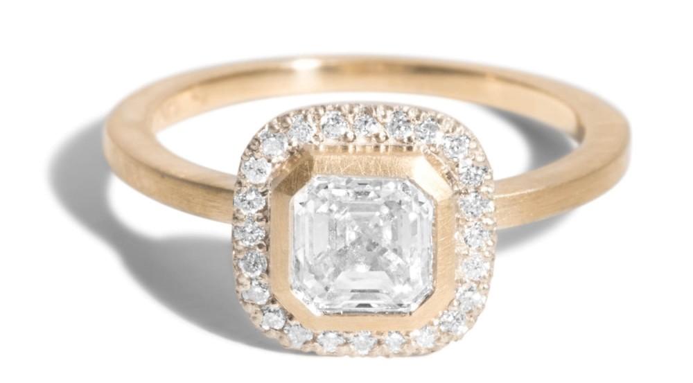 Custom Quince 0.75ct Asscher Cut Diamond Halo Ring