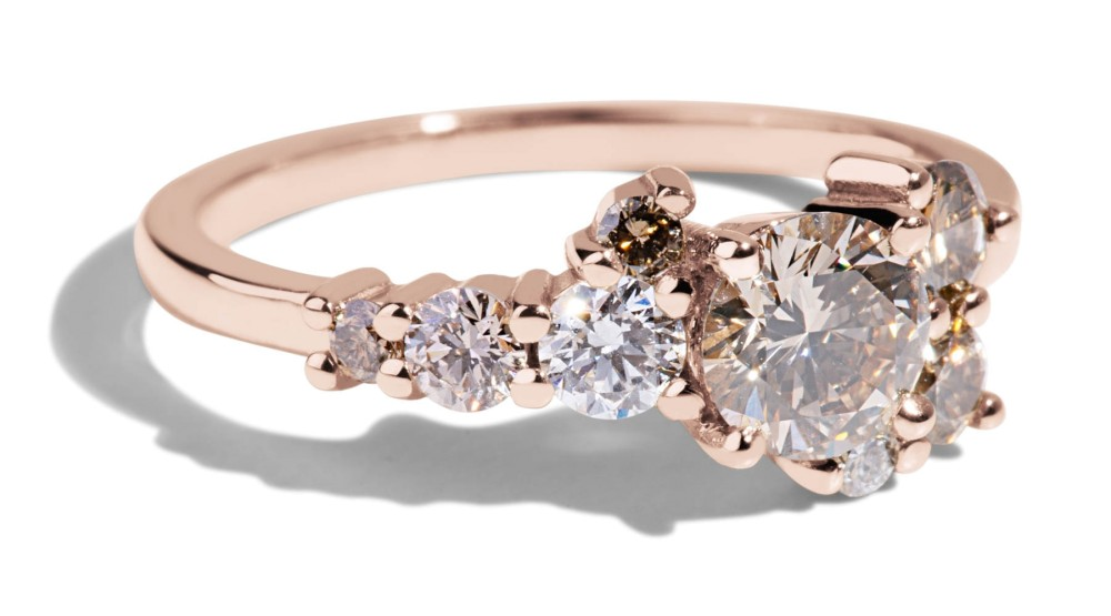 Burst Cluster Champagne Diamond Ombré Ring