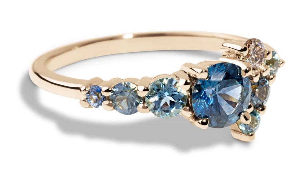 Custom 5mm Blue-Green Sapphire Cluster Ring