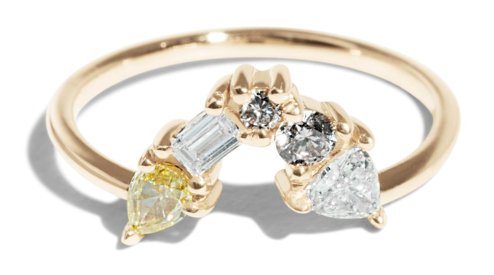 """Custom Cluster """"V"""" Shaped Ring"""