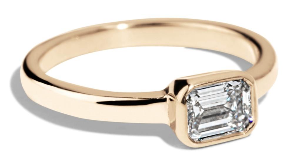 Custom .5ct Bezel Set Emerald Cut Diamond Ring