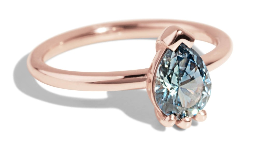 Custom Pear Cut Montana Sapphire Lash Ring