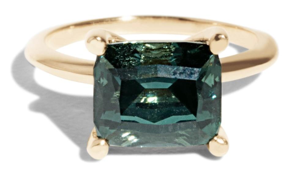 Custom Horizontally Set Tourmaline Solitaire Ring