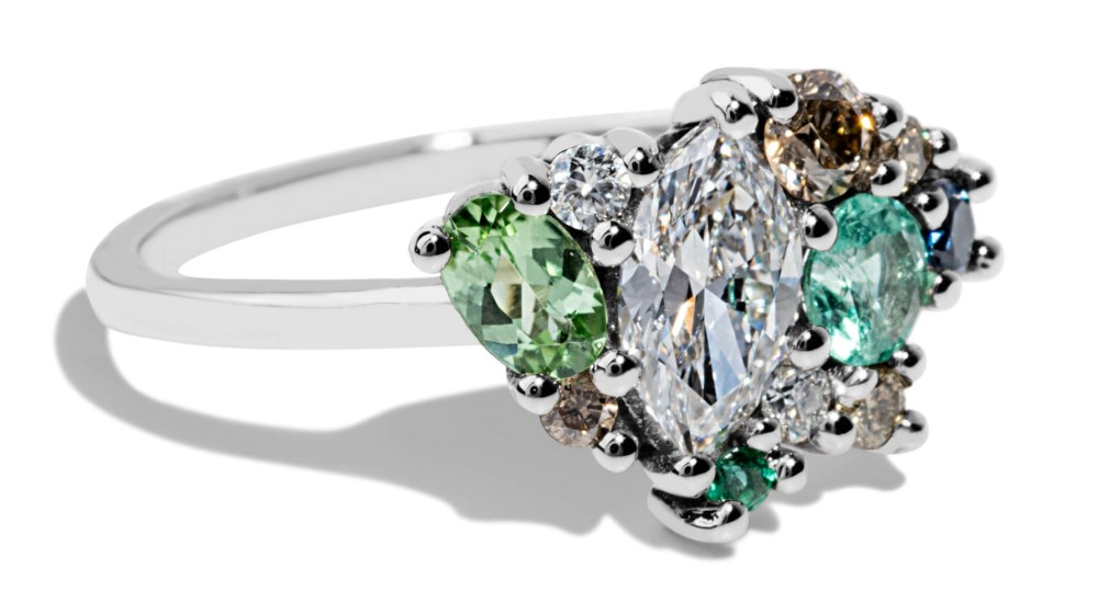 Custom .5ct Marquise Cut Diamond Cluster Ring with Tourmaline, Sapphires, and Diamonds