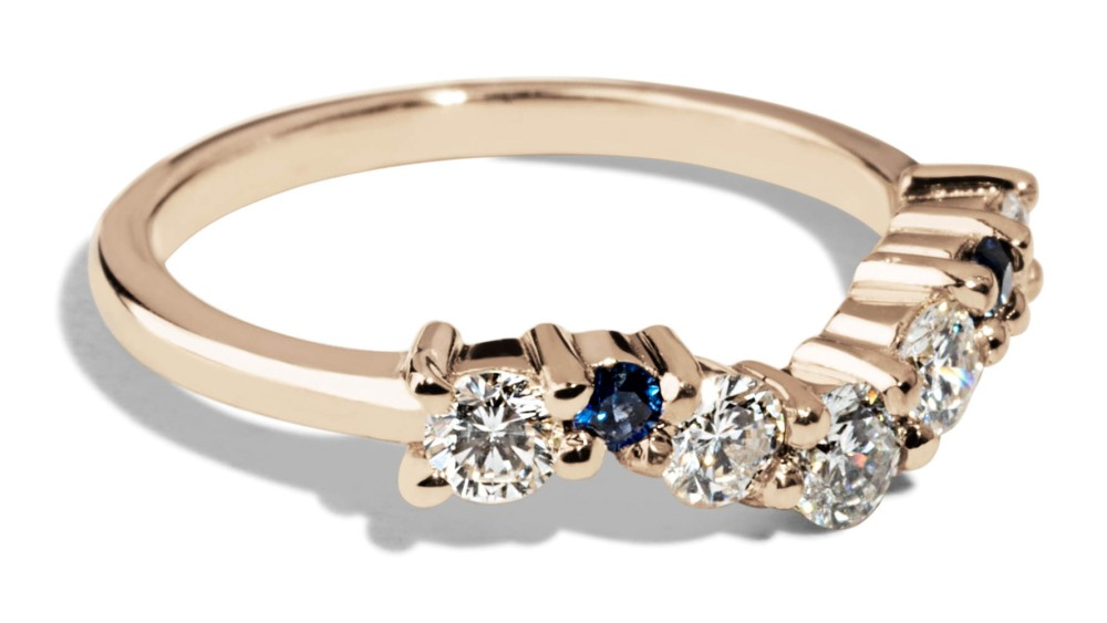 Custom Heirloom Diamonds and Sapphires Curved Cluster Band