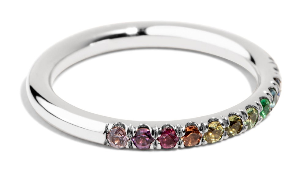 Dez Half Eternity Round Rainbow Band