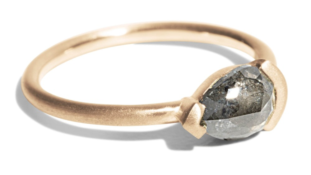 Custom Nikko .98ct Grey Pear Shaped Rose Cut Diamond Ring