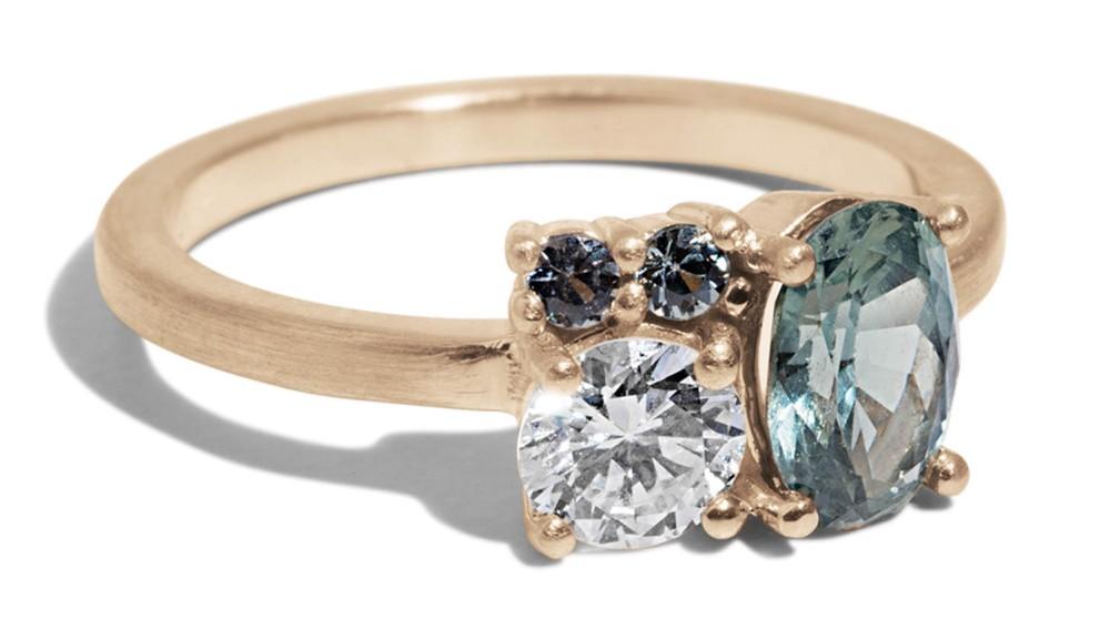 Custom Charta Cluster Sapphire with Diamond Ring