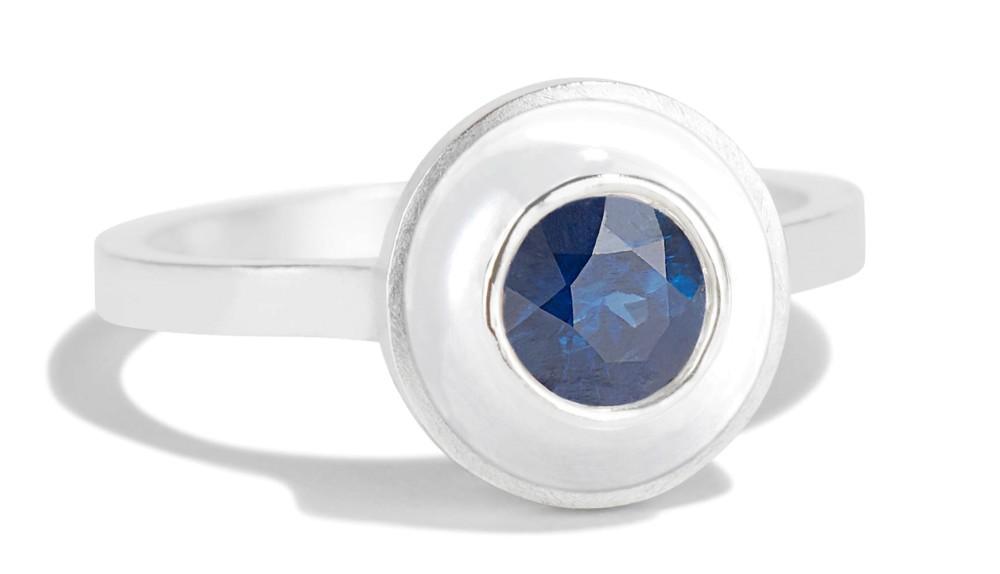 Senna Blue Sapphire Halo Ring with White Enamel