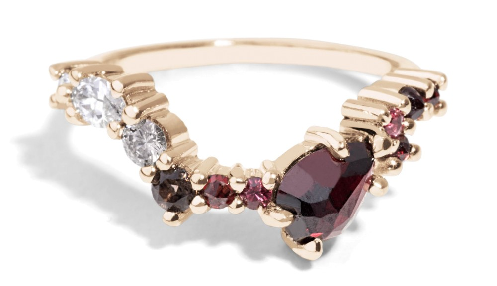 Custom Cluster Hex Linea Diamond with Garnet Band