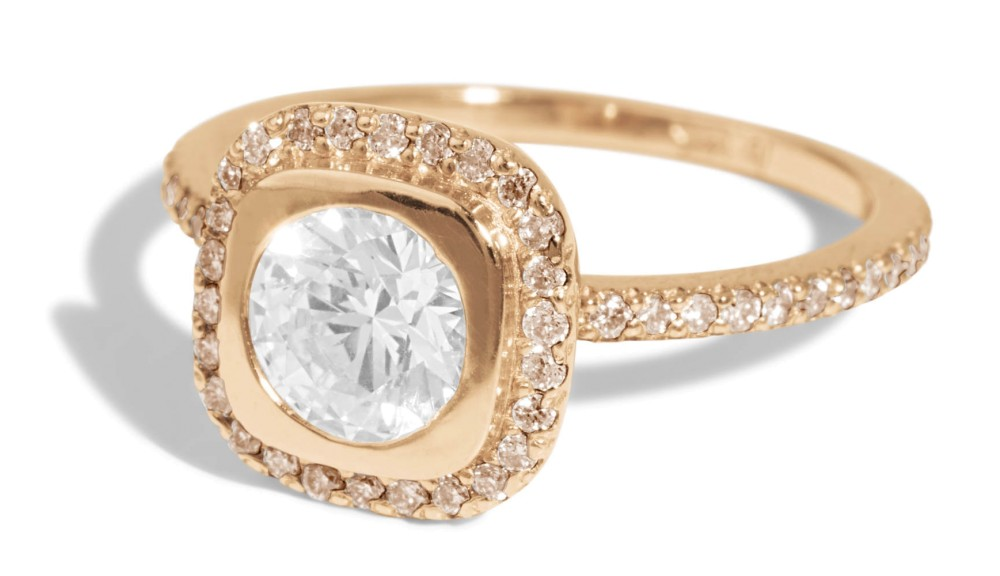 Quince Diamond with Champagne Halo Ring