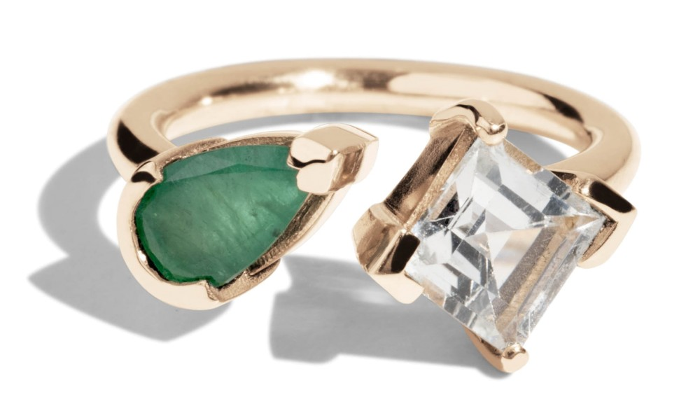 Open Lash Emerald and White Topaz Ring *Sold Out*