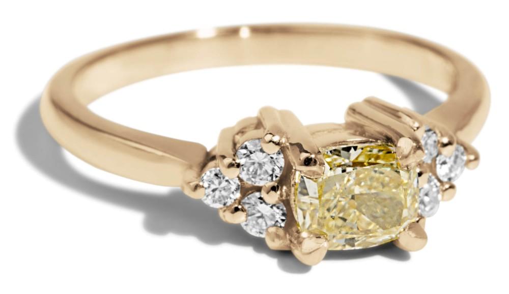 Custom Avens Symmetrical .55ct Yellow Diamond Ring