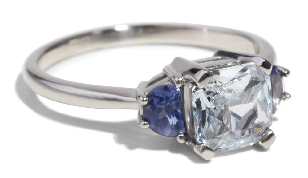 Custom Asscher Cut Sapphire and Iolite Engagement Ring