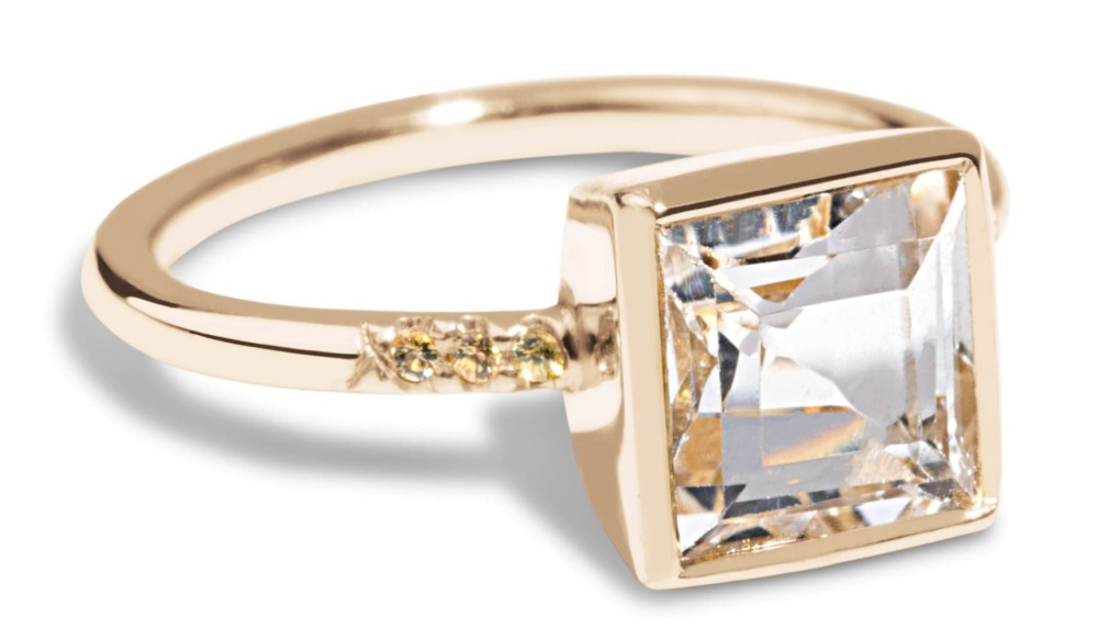 Custom Princess 7mm Topaz Solitaire Ring