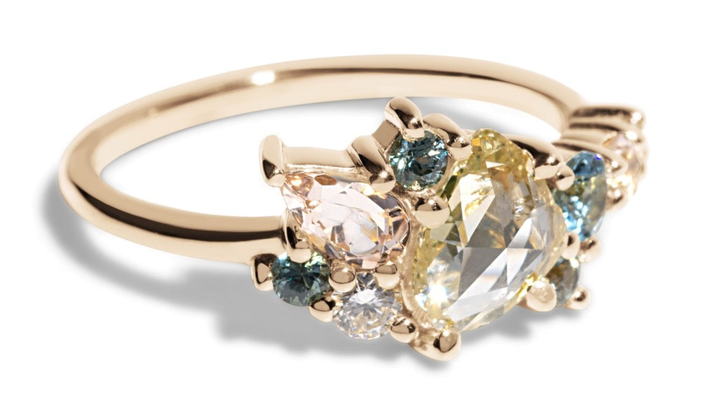Custom .50ct Rose Cut Diamond Cluster Ring