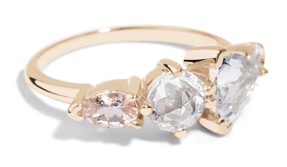 Custom Linear Trillion, Sapphire, and Morganite Ring