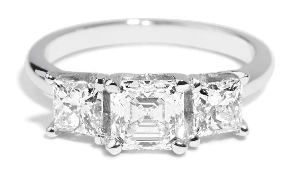 Custom 1.07ct Asscher with Princess Diamonds Ring