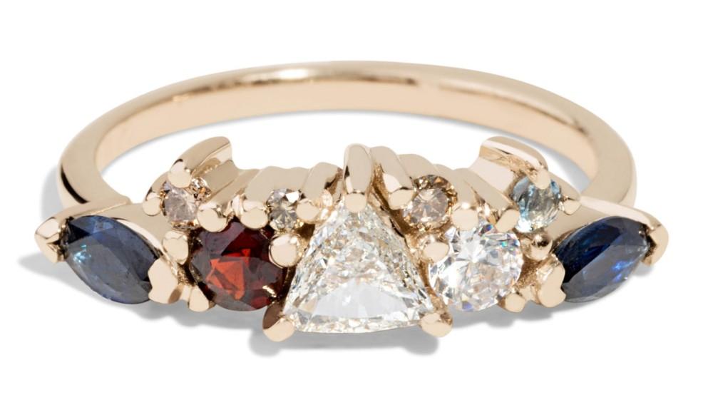 Custom Heirloom Trillion Diamond Cluster Band