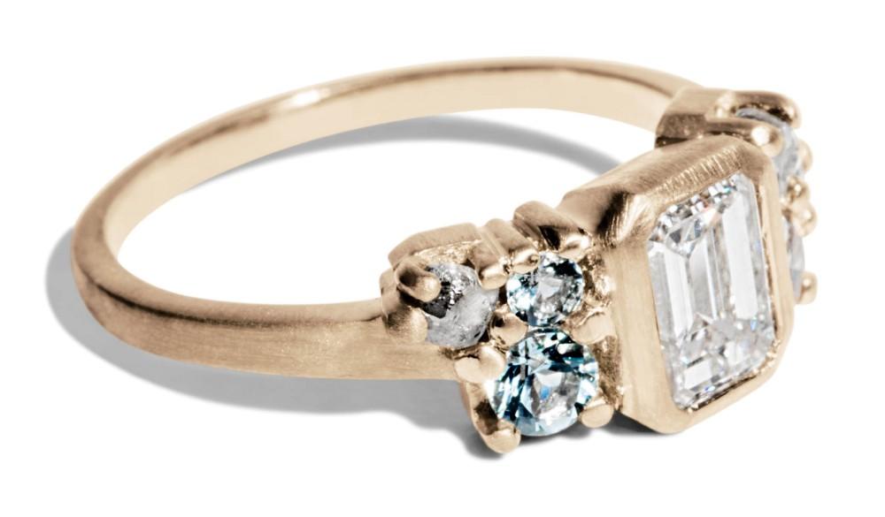 Custom 1ct. Emerald Cut Diamond Cluster Ring with Aqua and Sea Foam Sapphires