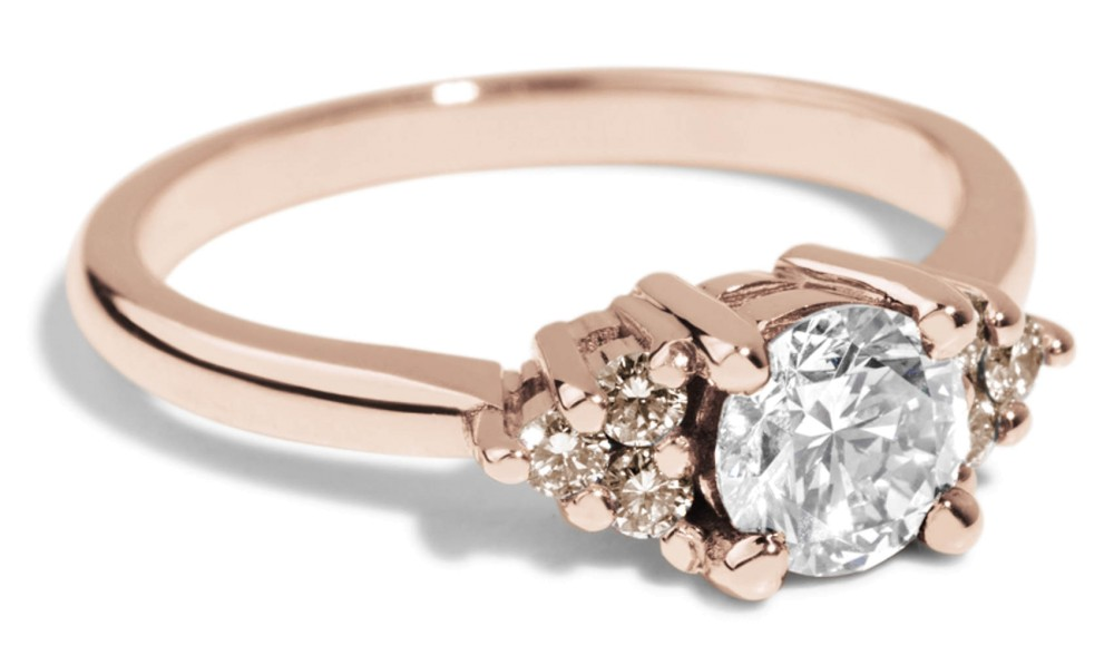 Avens Symmetrical White Sapphire with Champagne Diamond Ombré Ring