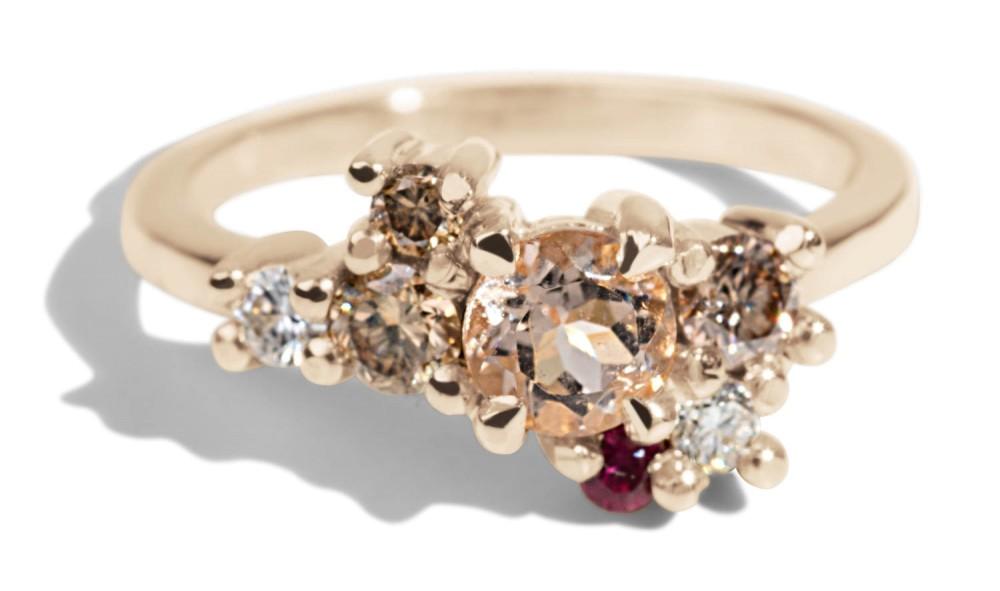 Custom 4mm Morganite Cluster Ring with Diamonds, Champagne Diamonds and Raspberry Sapphire