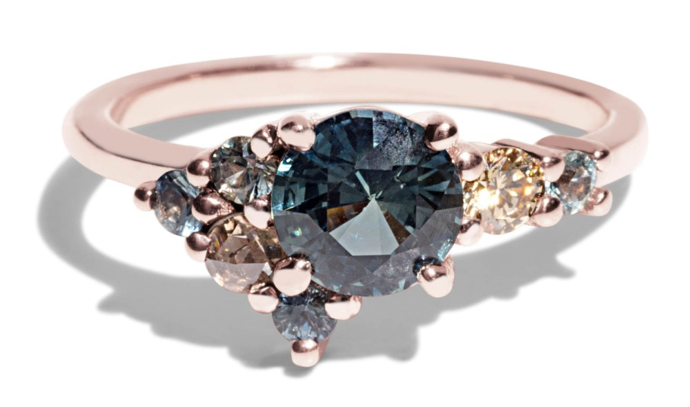 Custom 5.6mm Blue-Green Sapphire Cluster Ring with a Champagne Diamond and Seafoam Sapphires