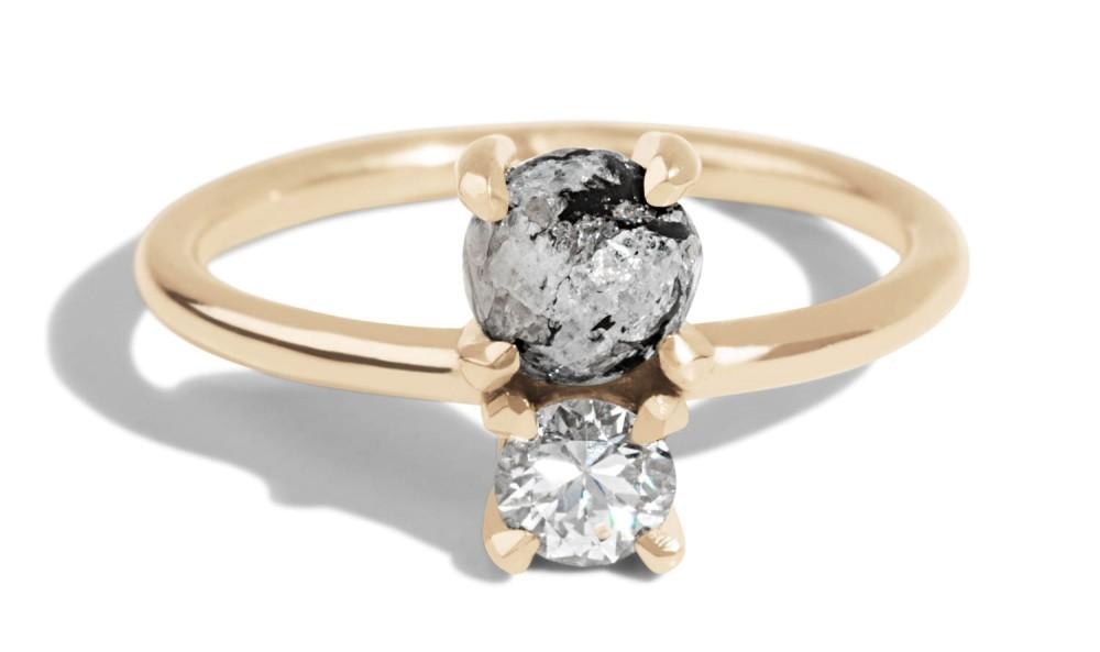 Custom Cut Granite Cluster Ring with Custom Heirloom Diamond Open Lash Ring