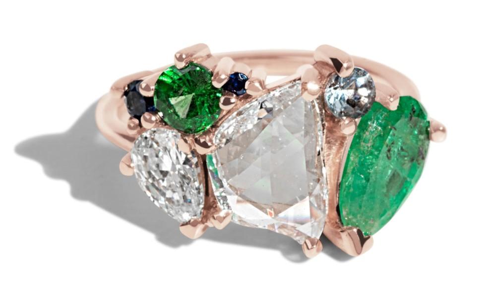 Custom .94ct Free Form Rose Cut Diamond Cluster Ring with Gemstones