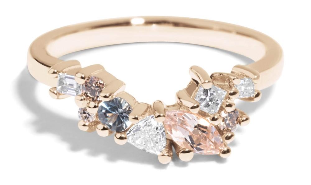 Custom Morganite, Diamond and Sapphire Cluster Band