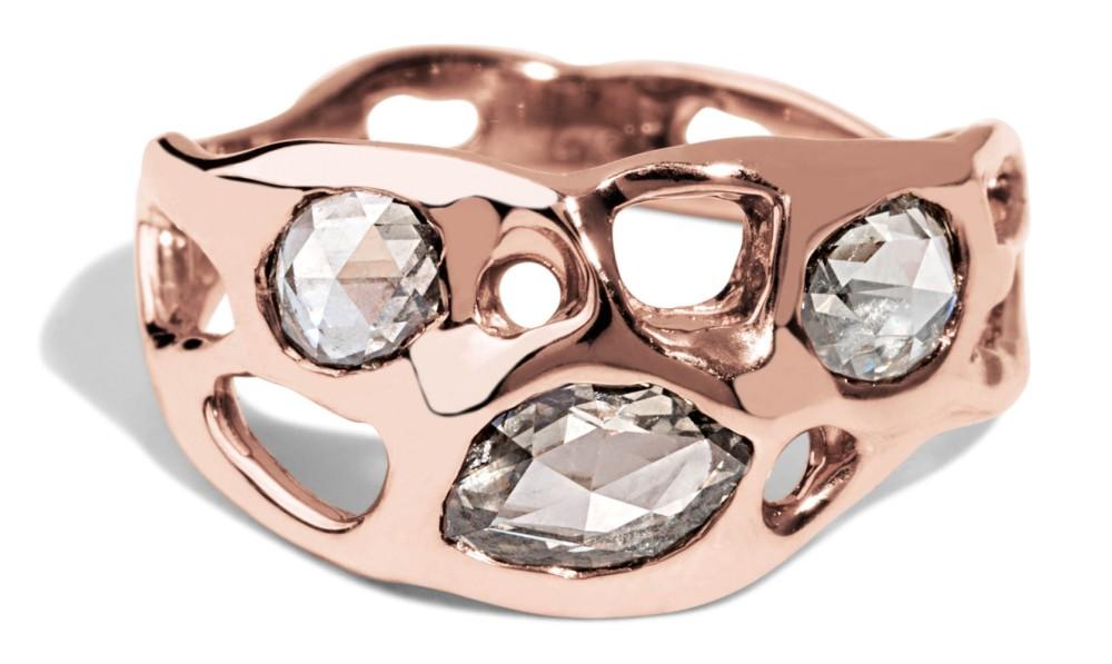 Custom Gale Rose Cut Champagne Diamond Ring