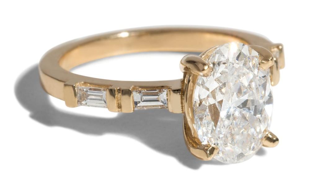 Custom Prong Set Oval and Baguette Diamond Ring