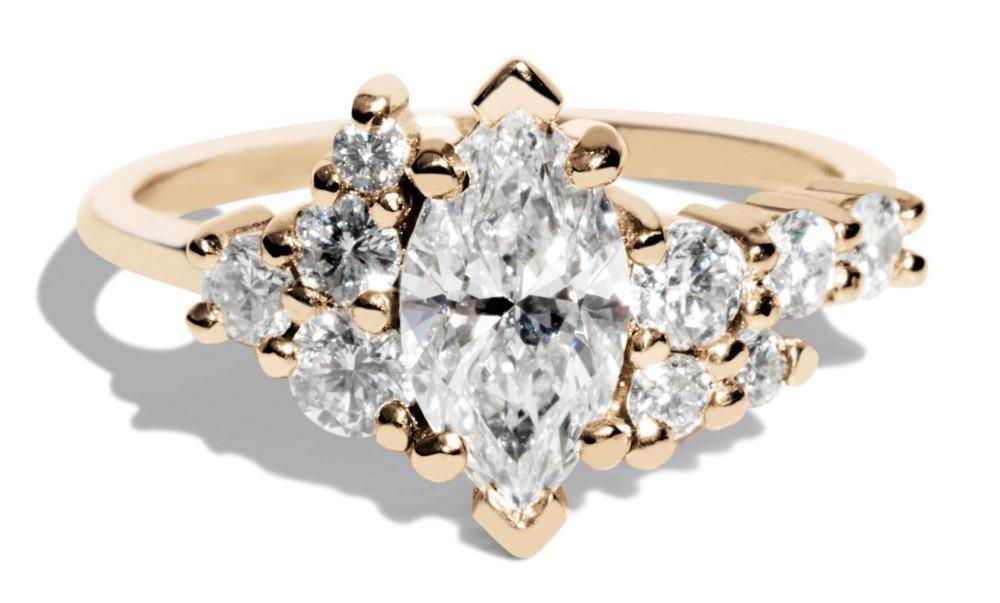 Custom 1ct Marquise Diamond Cluster Ring with White Diamonds