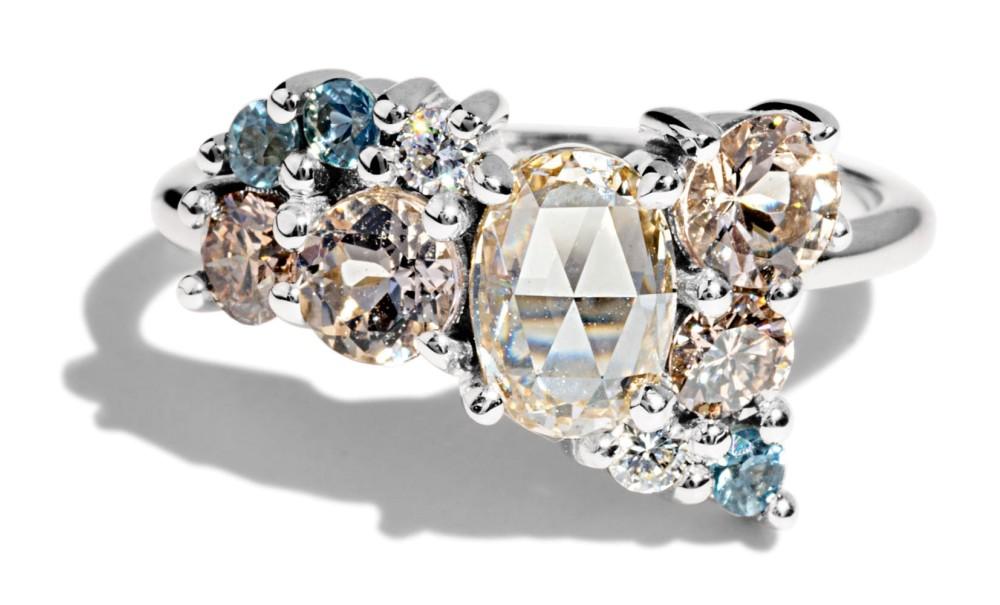 Custom Champagne Rose Cut Diamond Cluster Ring with Morganite, Seafoam Sapphires, and White Diamonds