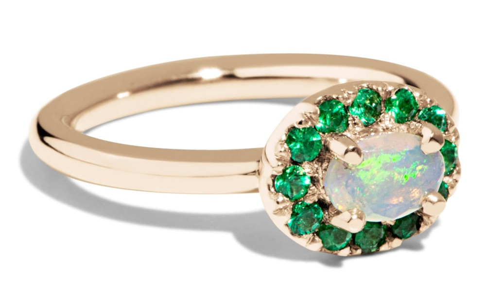 Dasha Opal with Emerald Halo Ring