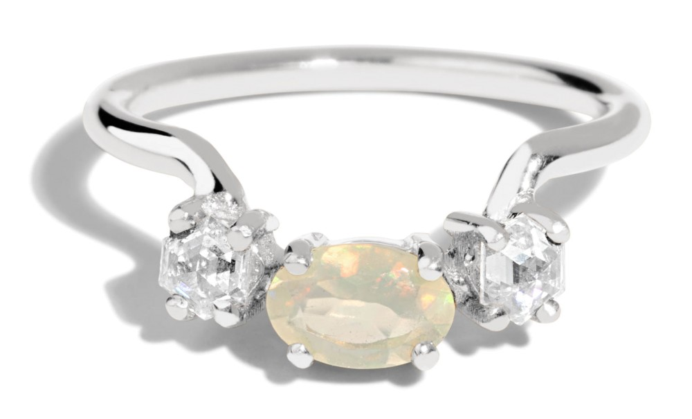 Icon Hex Opal with Diamond Ring