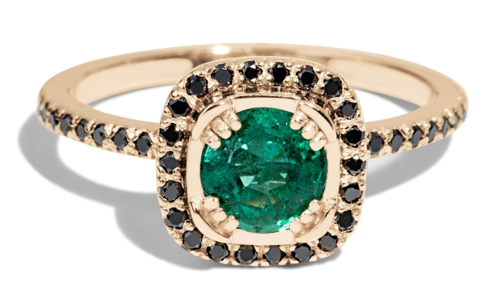 Quince Emerald with Black Diamond Halo Ring