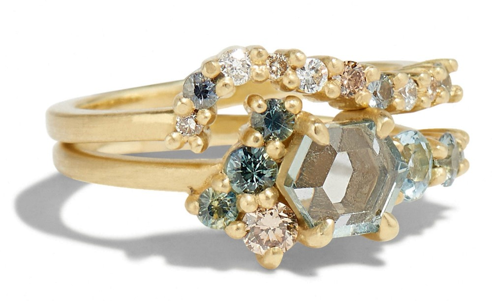Radial Cluster Diamond with Blue Sapphire Band