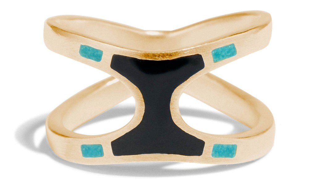 Senna Umbra Ring with Black and Teal Enamel