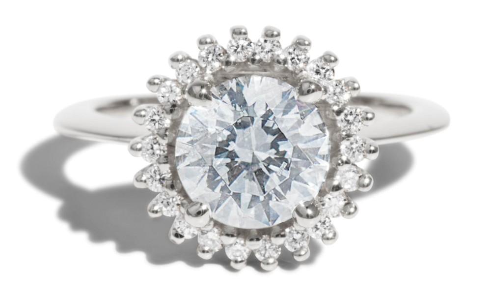 Stellium Diamond Halo Ring